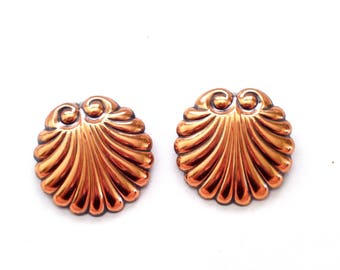 Renoir Sea Shell Earrings, Rare RENOIR Copper Seashell Clip Earrings, Nautical Earrings, Copper Seashell Earrings, Renoir Jewelry