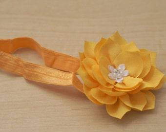 Yellow Lotus Flower Headband - with Pearl and Rhinestones