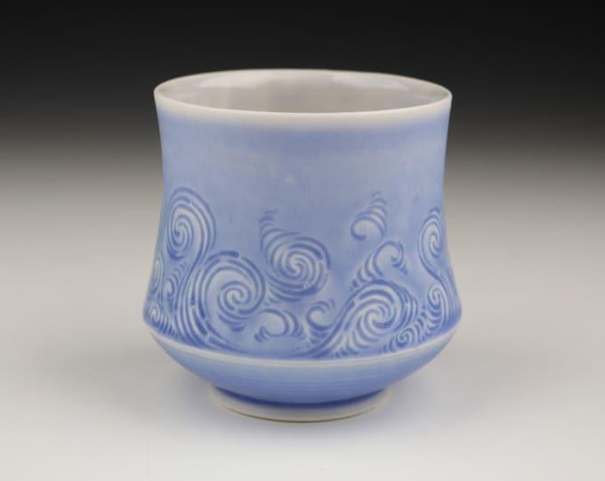 Blue Translucent Porcelain Hand Carved Rivulet Pottery Ceramic Cup