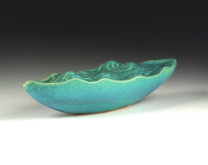 "Water Wave Boat Surreal Ceramic Art Sculpture Stoneware with Turqouise Glaze 9.5"" #3"