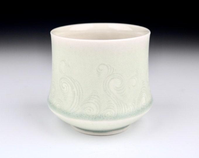 Sagebrush Green Translucent Porcelain Hand Carved Rivulet Pottery Ceramic Cup