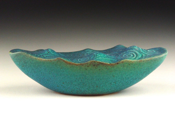 "Water Wave Boat Surreal Ceramic Art Sculpture Stoneware with Turqouise Glaze 8.5"" #2"