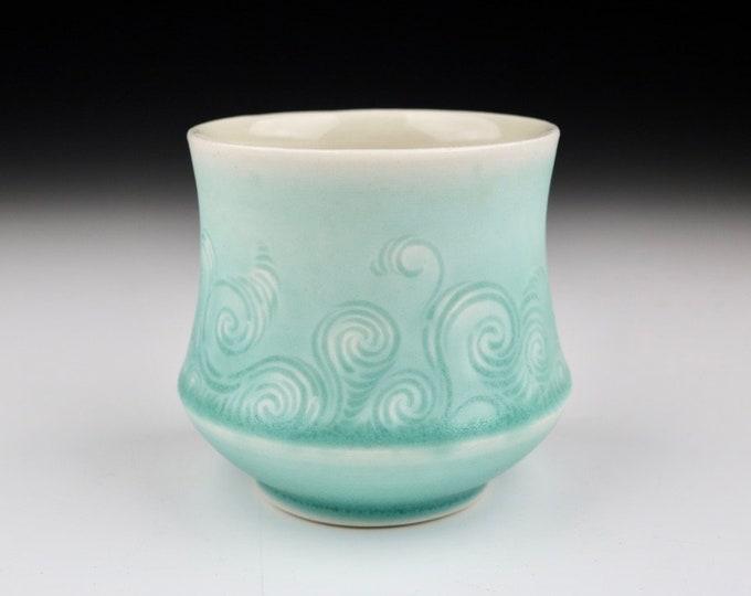 Aqua Translucent Porcelain Hand Carved Rivulet Pottery Ceramic Cup
