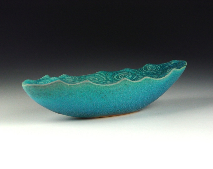 "Water Wave Boat Surreal Ceramic Art Sculpture Stoneware with Turqouise Glaze 11"" #1"