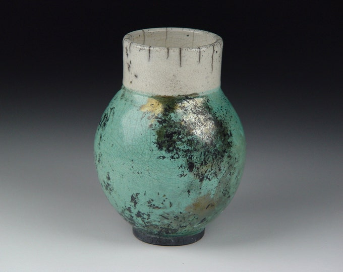Raku Decorative Vessel Vase with Copper Turquoise and White Crackle Glaze