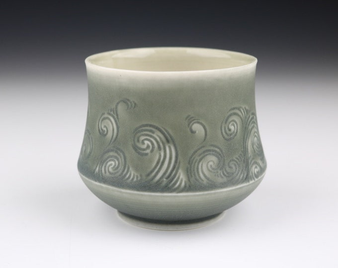 Stormy Gray Translucent Porcelain Hand Carved Rivulet Pottery Ceramic Cup