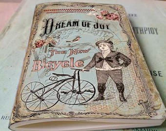 Pocket notebook - Vintage Style - Dream of Joy - 48  plain pages - Handmade journal