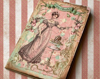 Pocket notebook - Shabby chic style - Enjoy Chocolate - 48 plain pages - Handmade Journal