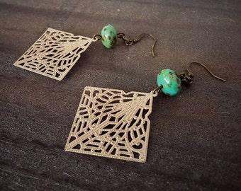 Boho Chic Dangle Earrings Statement Art Nouveau Light Tan Filigree - Cleo