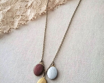 Labor Day Sale - Tiny Oval Locket  Necklace Cluster Hand Painted Multi-Colored - The Duchess