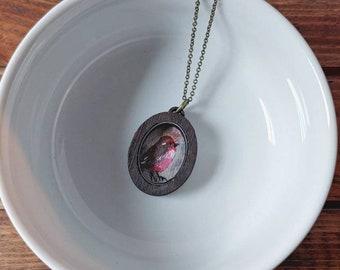 Bird Art Shadowbox Necklace Hand Painted - Little Wren.