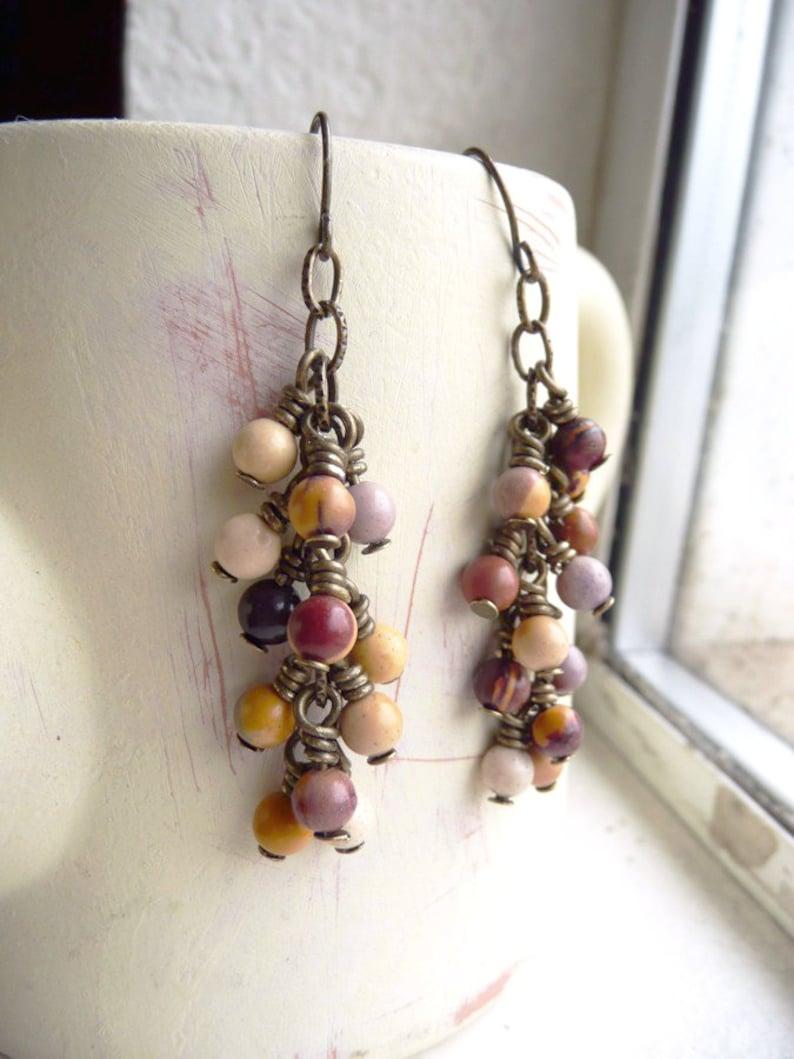 Nightshade Boho Cluster Earrings Beaded Dangle Mookaite Gemstone