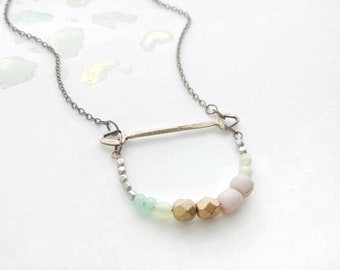 Bohemian Beaded Necklace Curved Bar Folk Multi Colored Beaded  - Pale