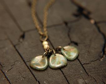 Boho Chic Cluster Necklace Light Turquoise -  Golden Spring.
