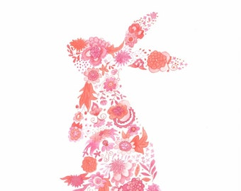 Pink Floral Rabbit illustration print