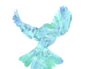 Fly Free - Bird in flight collage in blue and mint