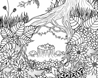 Tea For Two in the garden - gorgeous colouring page