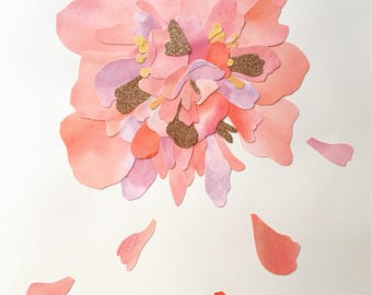Original Art Peony Watercolour Collage