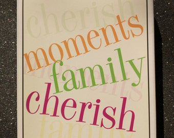 Large Words Hero Arts Stamp Set Moments Family Cherish LL998