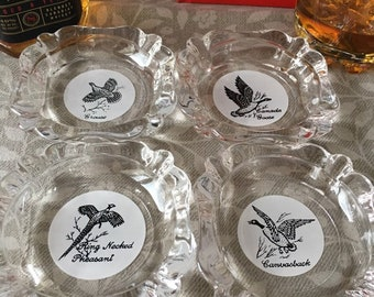 Choose Ash Tray and a Fake Cigarette Vintage Glass Game Birds Theatrical Prop