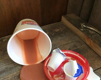 Fake Spilled Coffee & Creamers Fun Gag Staging Photo Prop