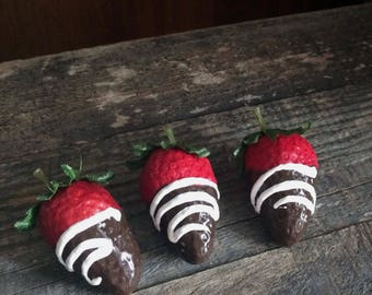 Chocolate Dipped Strawberries 3 White Drizzle Fake Food Photo Prop