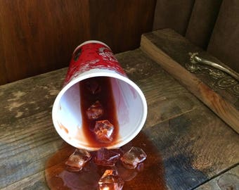 Fake Spilled Drink Pop in a Plastic Cola Cup Fun Prop Gag