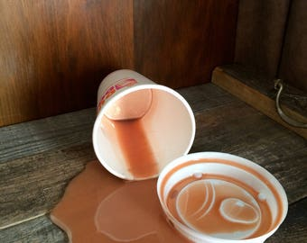 Fake Spilled Cup of DD Coffee Cream Fun Prop Gag Fun Photo Staging Prop
