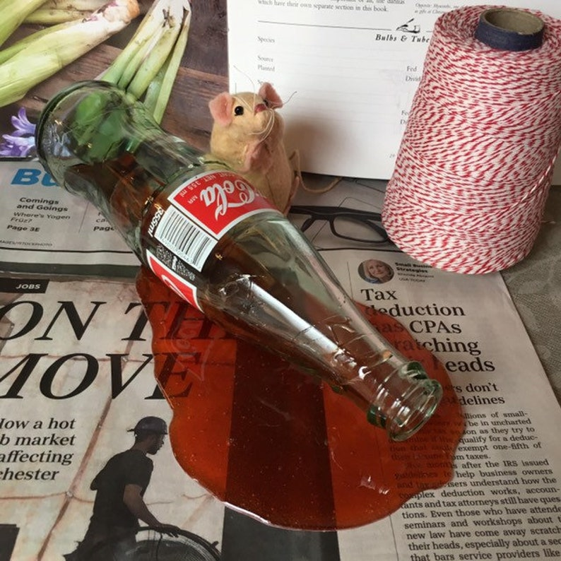 Spilled Glass Bottle Coca Cola Pop Drink Fake Food Photo Spill Prop Gag