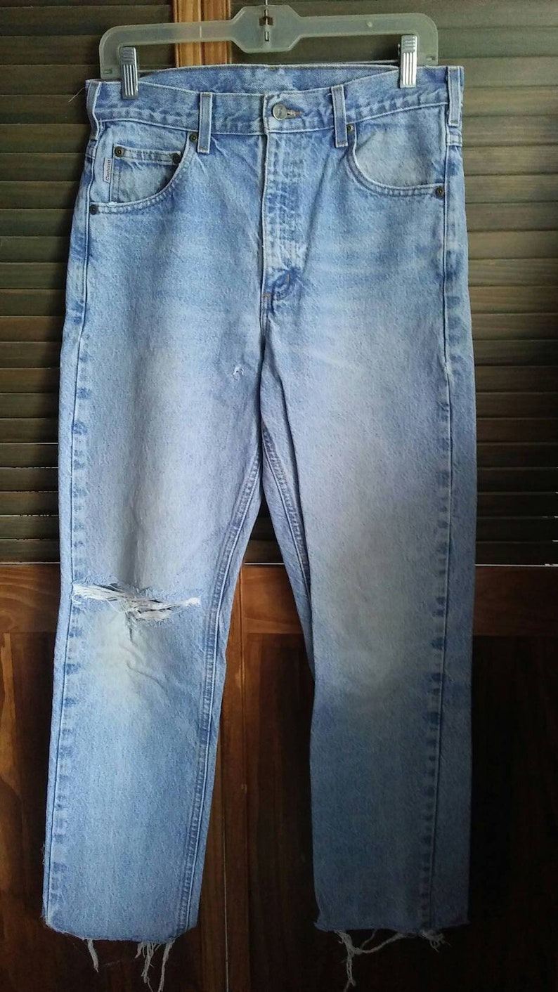 Vintage 90s high waisted carhartt jeans sz 31x32 naturally destroyed