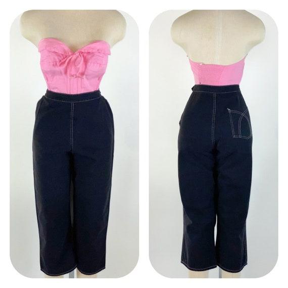 Vintage 1950s Black Sanforized Capris Pants L Whit
