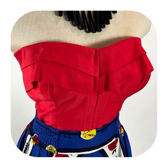 Vintage 1950s Red Queens Casuals Bustier strapless