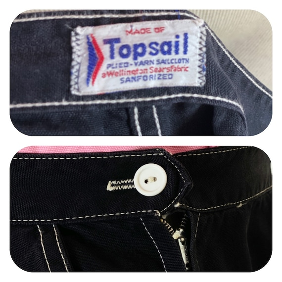 Vintage 1950s Black Sanforized Capris Pants L Whi… - image 2
