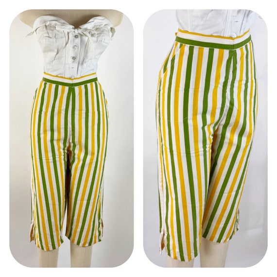 Vintage 1950s Striped Capri Pants L