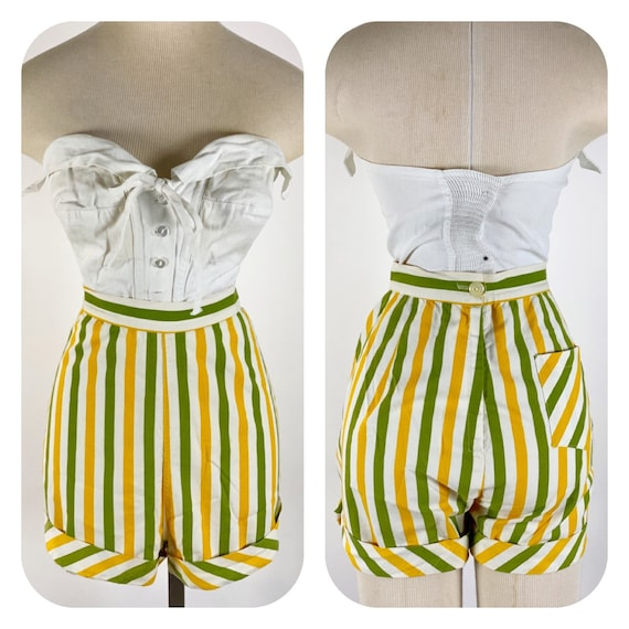Vintage 1950s Striped Cheesecake Pin Up Booty Shor