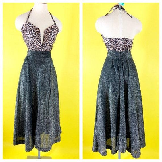 Vintage 1950s Silver Chromespun Lurex A line skirt
