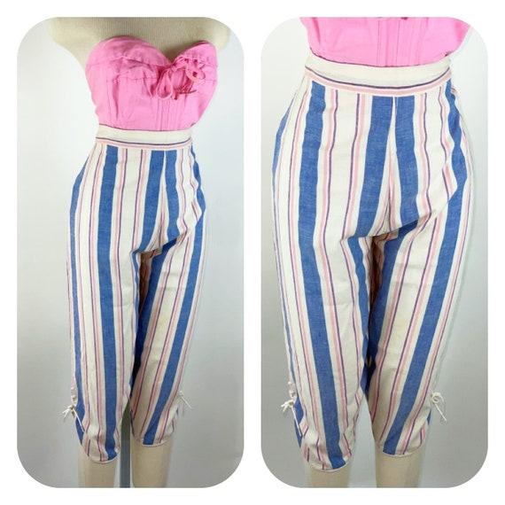 Vintage 1950s Cotton striped lace up ankle capri p