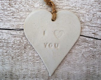 I Love You Ceramic Loveheart Hanger, gift idea pottery