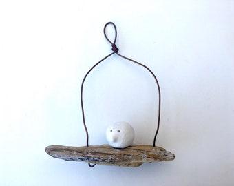 wire sculpture wire home decor hand made sculpture driftwood art Wire art Bird on a driftwood wire wall art