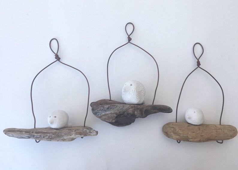 Bird on a driftwood wire hand made sculpture wire Wire art home decor wall art wire sculpture driftwood art