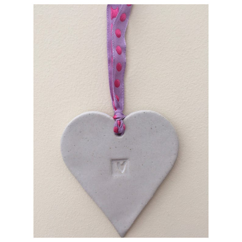one off stoneware pottery home decor, gift idea Love heart Hanger