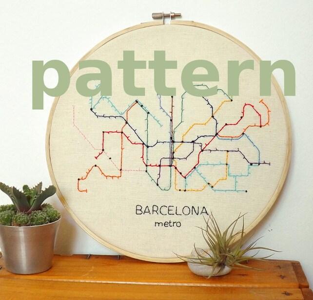 Mapa del metro de Barcelona patrón de bordado a mano super | Etsy