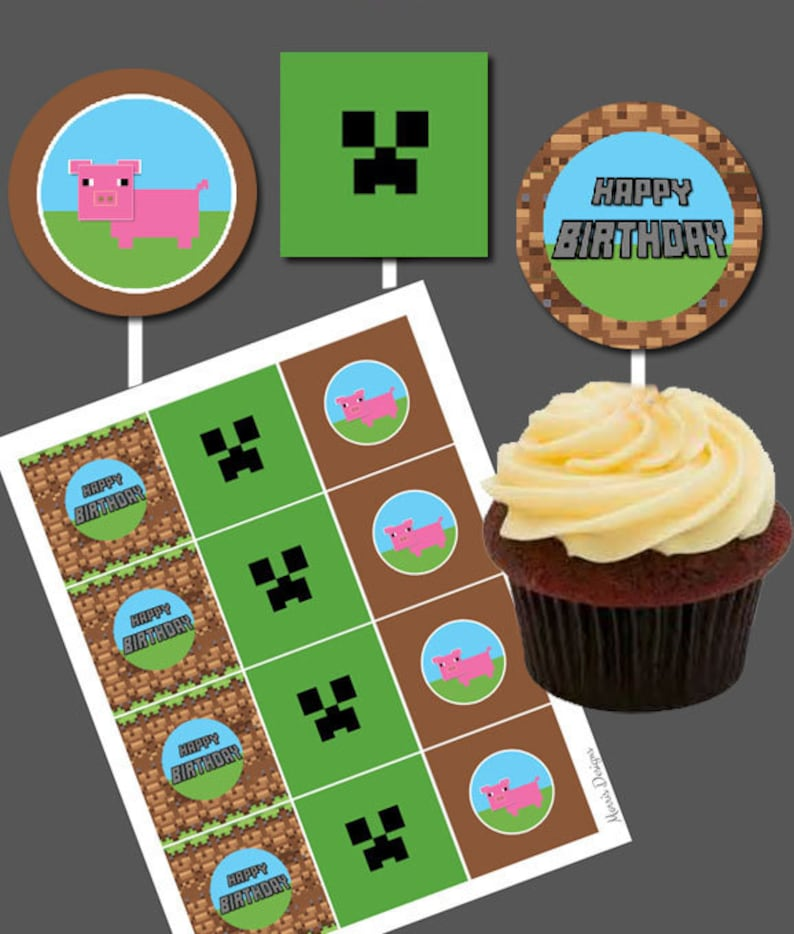graphic regarding Printable Minecraft Cupcake Toppers named Do it yourself Printable Boys Delighted Birthday Cupcake Toppers Pig farm Movie Sport Cake Stickers Boys Birthday Themed Tag Label Encouraged through Minecraft