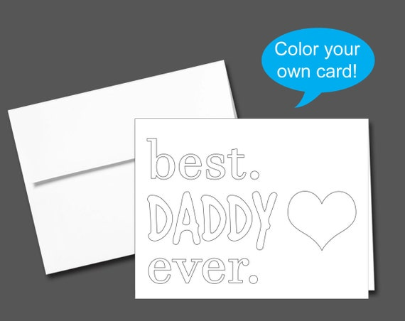 Printable Color Your Own Birthday Card Or Fathers Day Etsy
