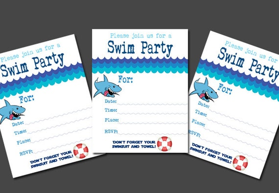Fill In The Blank Boy S Swim Party Invitation Pool Party Printable Shark Birthday Party Invite Theme Girls Boys Swimming Neighborhood Party