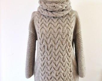Knit Sweater Oversized Sweater Chunky Knit Sweater Knitted Sweater Cable  Knit Beige Sand f97089d7f