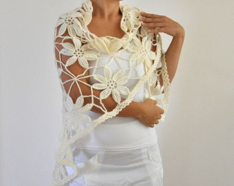 Crochet Shawl Mohair Weddings Wrap Stole Ivory Cream Unique Chic Elegant Gift For Her