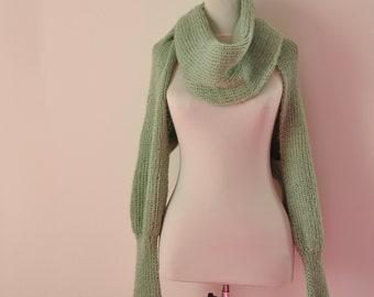 Scarf Sweater Cardigan Chunky Knit Womens Wrap Sweater Bridal Shrug Bolero Wedding Jacket Long Sleeved Mint Green