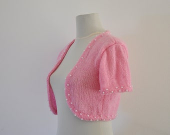 Exclusive Pink Beaded Shrug Bolero Bridal Shrug Wedding Jacket Bridal Cardigan