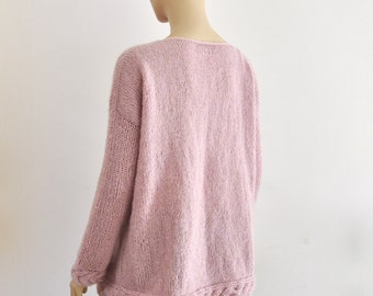 Oversized Sweater, Loose Fit Pullover, Cable Knit Jumper, Mohair Sweater, Chunky Warm Cozy, Hand Knit, Pink Rose